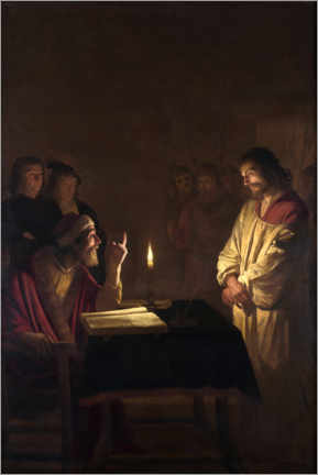Canvastavla  Christ before the high priest - Gerard van Honthorst