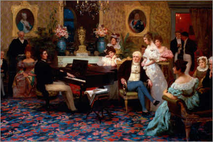 Canvastavla  Chopin plays in Prince Radziwill's salon - Henryk  Siemiradzki