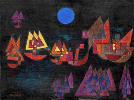 Canvastavla  Ships in the dark - Paul Klee