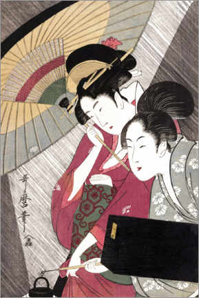 Premiumposter Geisha and attendant on a rainy night