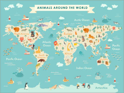 Canvastavla  World map with animals (English) - Kidz Collection