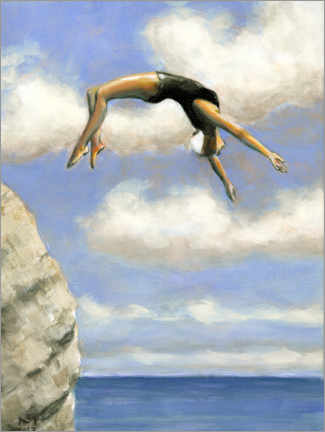 Canvastavla  Jumping from a rock - Sarah Morrissette