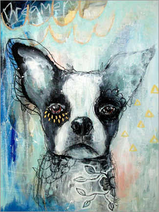 Självhäftande poster  Little Dreamer - Boston Terrier - Micki Wilde