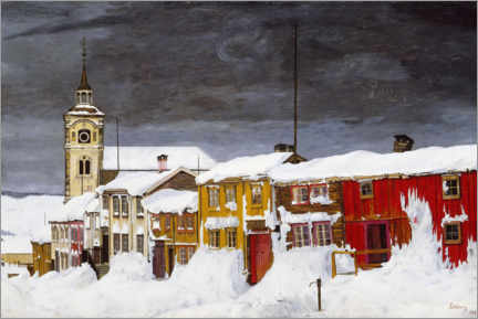 Premiumposter  Road in Røros in winter - Harald Oscar Sohlberg