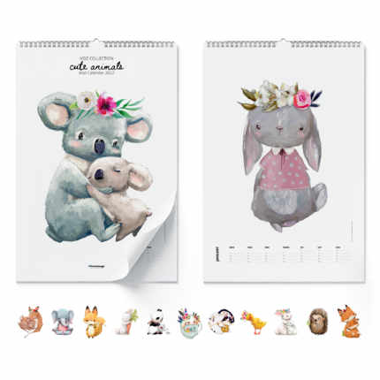 Väggkalender Cute Animals 2021