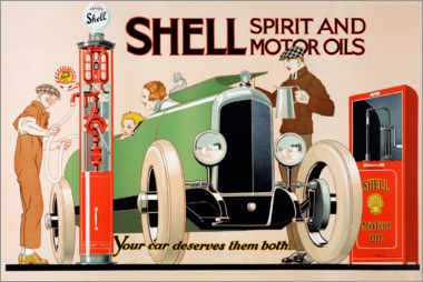 Akrylglastavla  Shell, spirit and motor oils - Rene Vincent