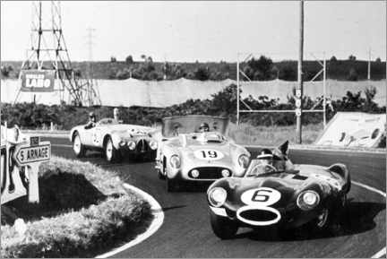 Premiumposter Fangio, Moss and Hawthorn at the Le Mans 24-hour race 1955