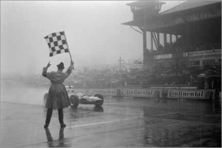 Canvastavla  Jackie Stewart, chequered flag for victory at German GP 1968