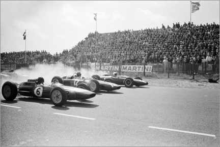 Canvastavla  Jim Clark, Graham Hill and Bruce McLaren startar i Zandvoort 1963