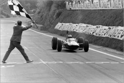 Canvastavla  Jim Clark takes the chequered flag, French GP 1965