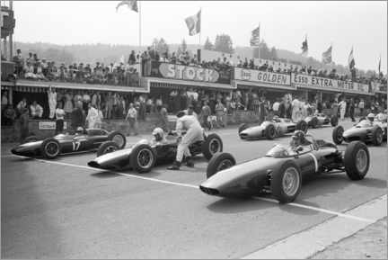Akrylglastavla  Graham Hill, Bruce McLaren and Trevor Taylor on the starting grid, 1962