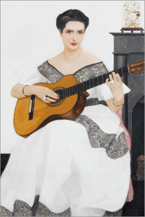 Akrylglastavla  Delfina playing the guitar - Bernard Boutet de Monvel