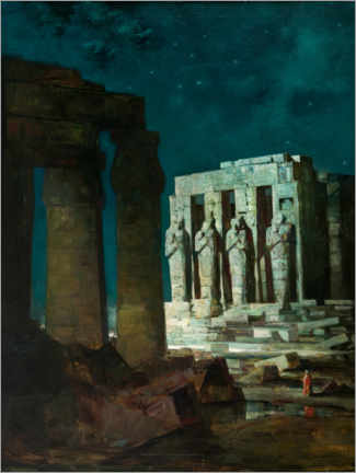 Canvastavla  Past (Karnak Temple in Luxor at night) - Anton Müller-Wischin