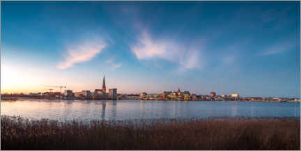 Akrylglastavla  Rostock skyline at dusk - Dirk Petersen