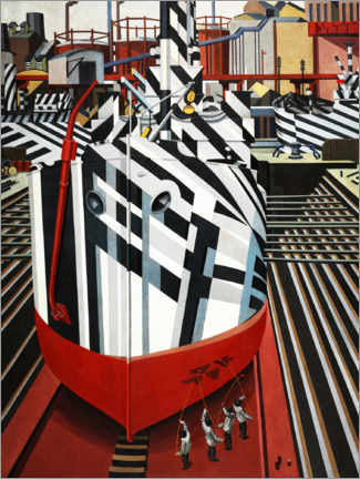 Canvastavla  Dazzle ships in Liverpool's dry dock - Edward Wadsworth