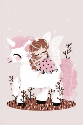 Premiumposter  The fairy and the unicorn - Kanzilue
