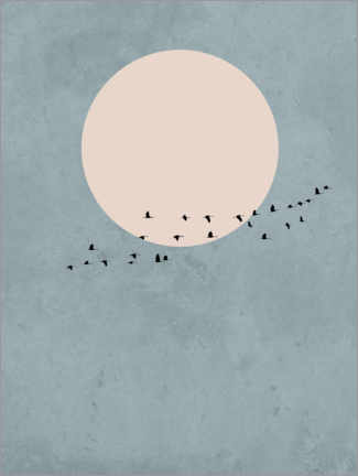 Premiumposter  Bird migration to full moon - Finlay and Noa