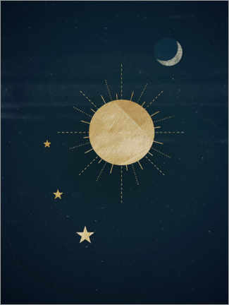 Premiumposter Sun, moon and stars