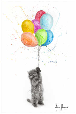Premiumposter The Naughty Kitten and The Balloons