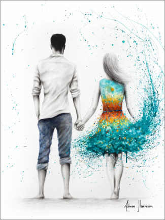 Premiumposter Couple at the ocean