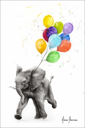 Canvastavla  Baby elephant with balloons - Ashvin Harrison
