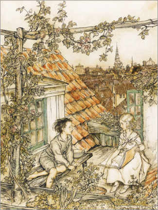 Akrylglastavla  Kai and Gerda on the roof - Arthur Rackham