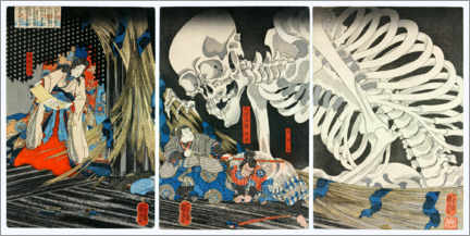 Canvastavla  Takiyasha the Witch and the Skeleton Spectre - Utagawa Kuniyoshi