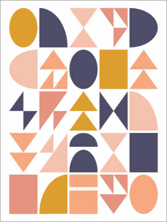 Premiumposter  Geometric shapes - apricot and birch