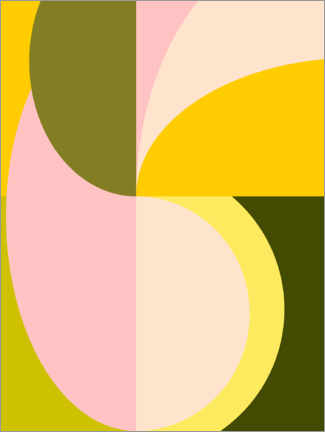 Premiumposter Abstract Shapes in Pink and Green