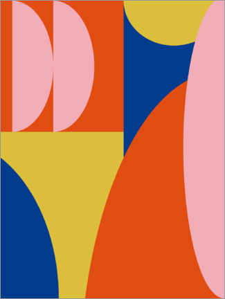 Premiumposter Abstract Shapes in Primary Colors