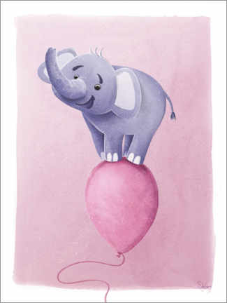 Premiumposter Cute elephant on pink balloon