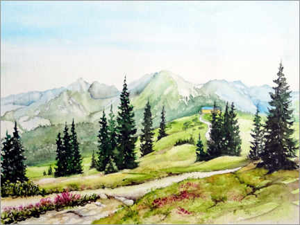 PVC-tavla  Mountain landscape on the Planai - Burkhard Posanski