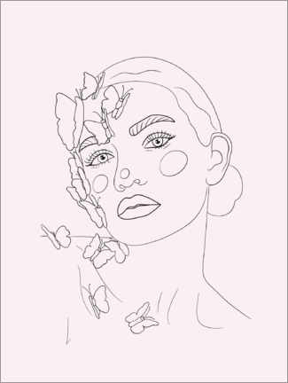 Premiumposter Girl with butterflies, rose