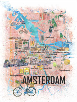 Premiumposter Amsterdam city map
