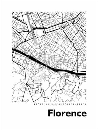 Premiumposter Florence city map