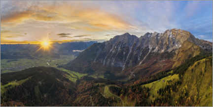 Akrylglastavla  Hoher Göll with a view of the Salzach Valley at sunrise - Dieter Meyrl
