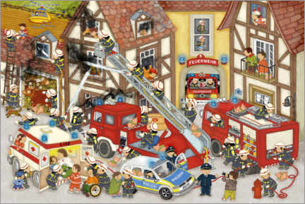 Premiumposter Firefighters in my village