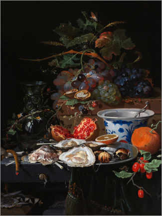 Premiumposter Still life with fruits and oysters