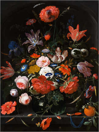 Galleritryck  Flowers in a glass vase - Abraham Mignon