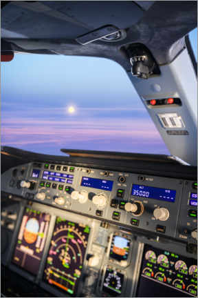 Premiumposter Airbus A380 cockpit with rising moon