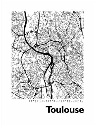 PVC-tavla  Map of Toulouse - 44spaces