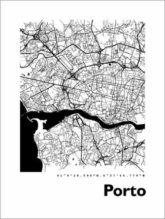 Premiumposter  Porto city map - 44spaces