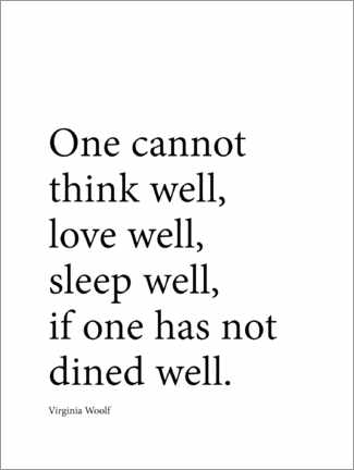Canvastavla  Dine well - Virginia Woolf quote - Finlay and Noa