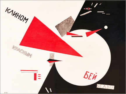 Premiumposter  Hit the whites with the red wedge - El Lissitzky