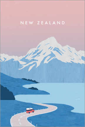 Akrylglastavla  New Zealand illustration - Katinka Reinke