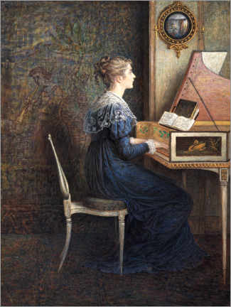 Canvastavla  Woman plays the piano - William John Hennessy