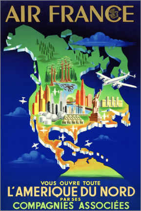 Premiumposter Air France North America Travel