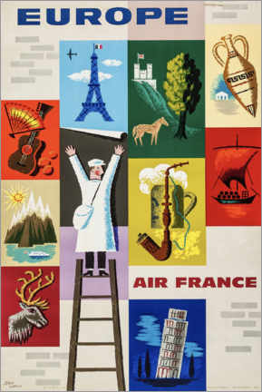 Premiumposter  Europe via Air France - Travel Collection