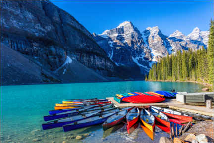 Premiumposter  Canoes on Moraine Lake, Canada - Mike Centioli