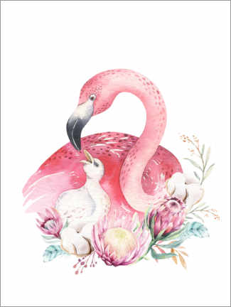 Canvastavla  Flamingo mom - Kidz Collection